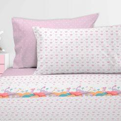 Juego de sábanas unicornio: Encimera, bajera ajustable y funda de almohada Para cama de 90 cm Mejor calidad a bajo precio