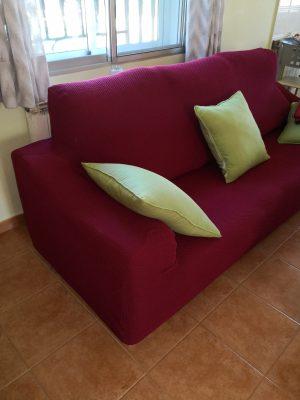 Funda de sofá 3 plazas color granate