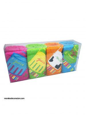 Juego de paños de cocina 4 unidades Medida del producto: 50 x 50 cm Diversos colores y figuras de algodón 100% Mejor calidad a bajo precio