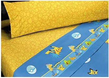 Juego de sábanas POKÉMON: Encimera, bajera ajustable y funda de almohada algodónPara cama de 90 cm Mejor calidad a bajo precio