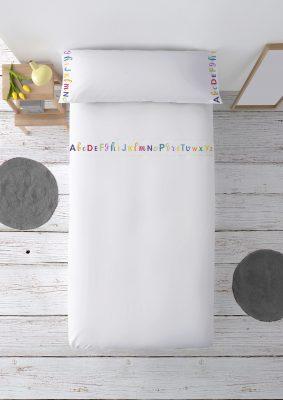 Juego de sábanas ABC: Encimera, bajera ajustable y funda de almohada de algodón Para cama de 90 cm Mejor calidad a bajo precio