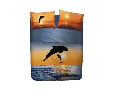 Juego Sábanas Dolphins At Sunset bassetti de 3 piezas 100% algodón Para cama de 90 cm Encimera, bajera ajustable y funda de almohada