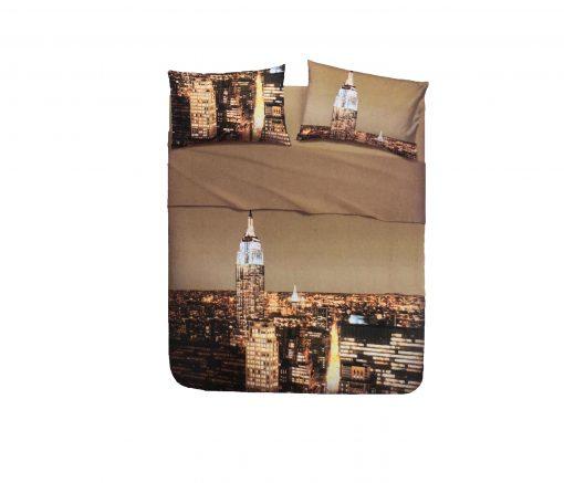 Juego Sábanas New York bassetti de 2 piezas 100% algodón Para cama de 90 cm Encimera y una funda de almohada reversible